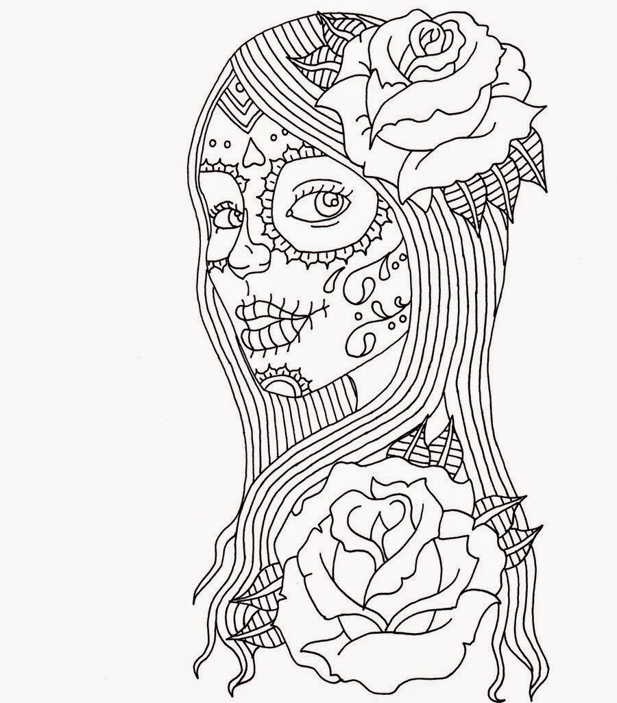 day of the dead coloring pages - Day Of The Dead Coloring Pages
