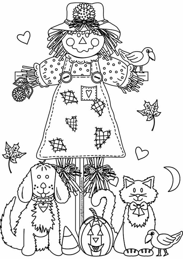 Free printable fall coloring pages for kids best for Printable scarecrow coloring pages