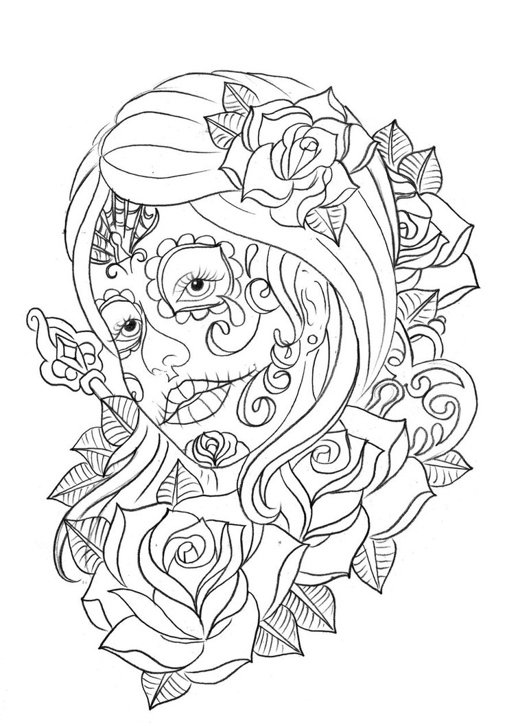 Day coloring pages to print ~ Free Printable Day of the Dead Coloring Pages - Best ...