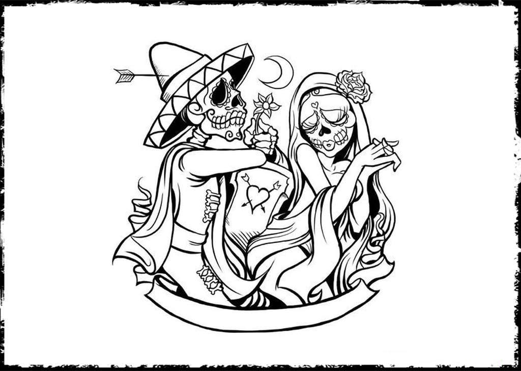 print day of the dead coloring pages - Day Of The Dead Coloring Book