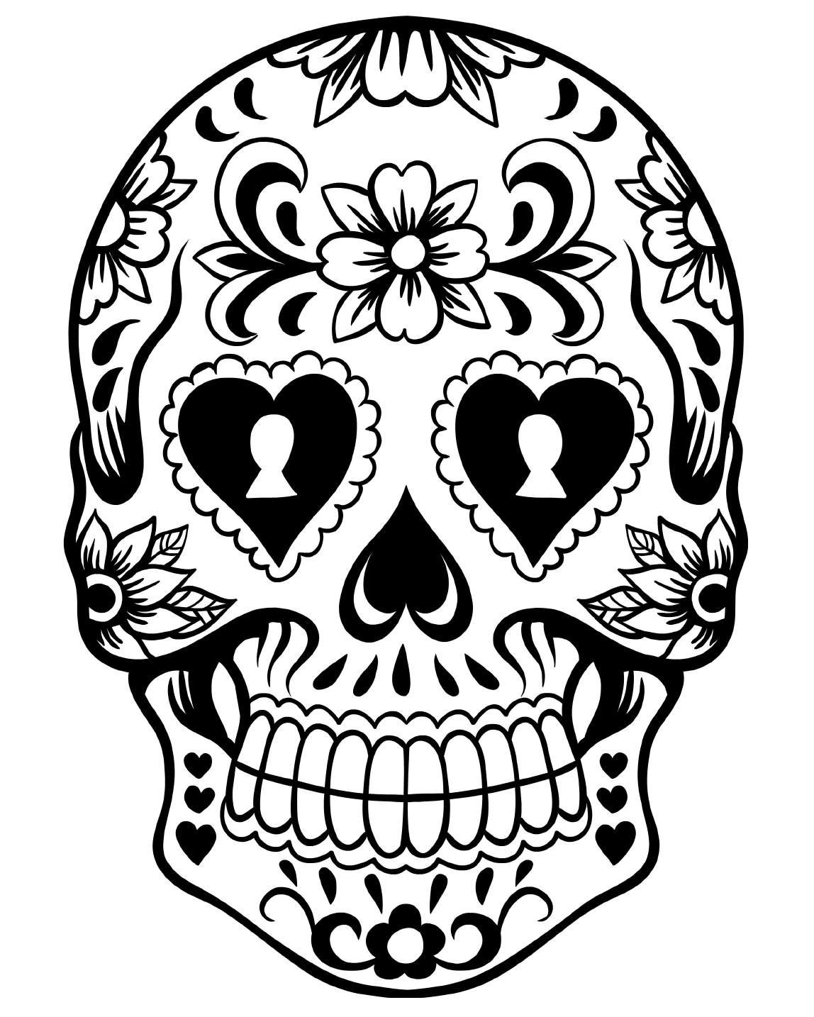 Free printable day of the dead coloring pages best for Day of the dead skull mask template