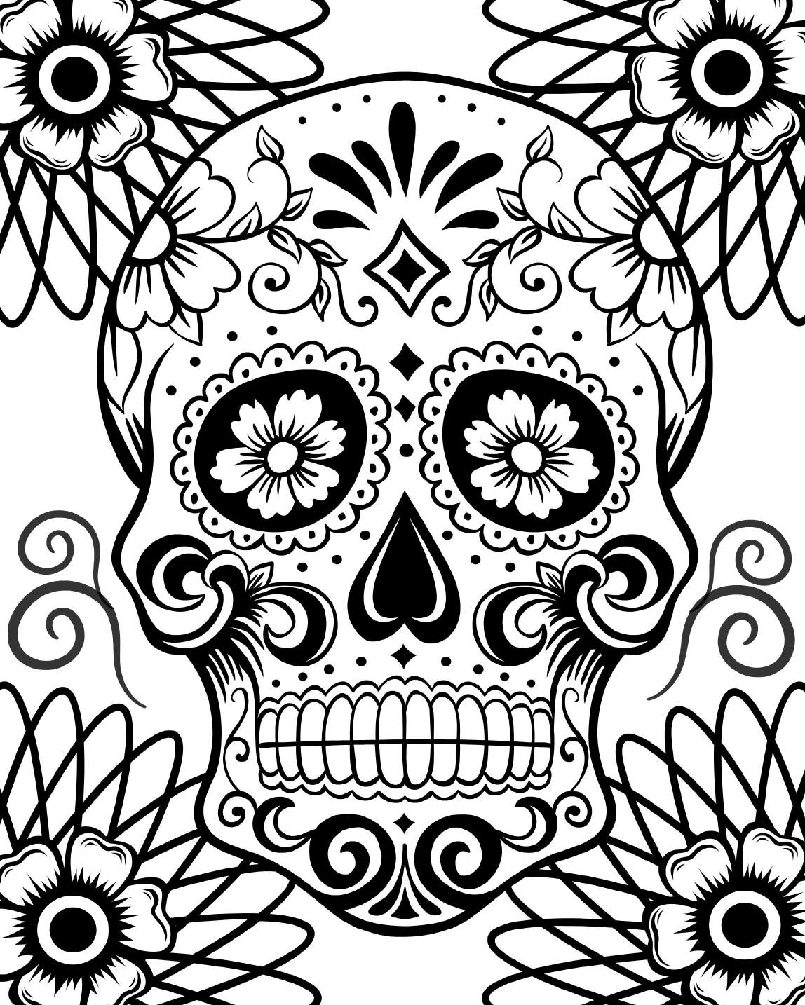 skulls for coloring day of the dead - Day Of The Dead Coloring Book
