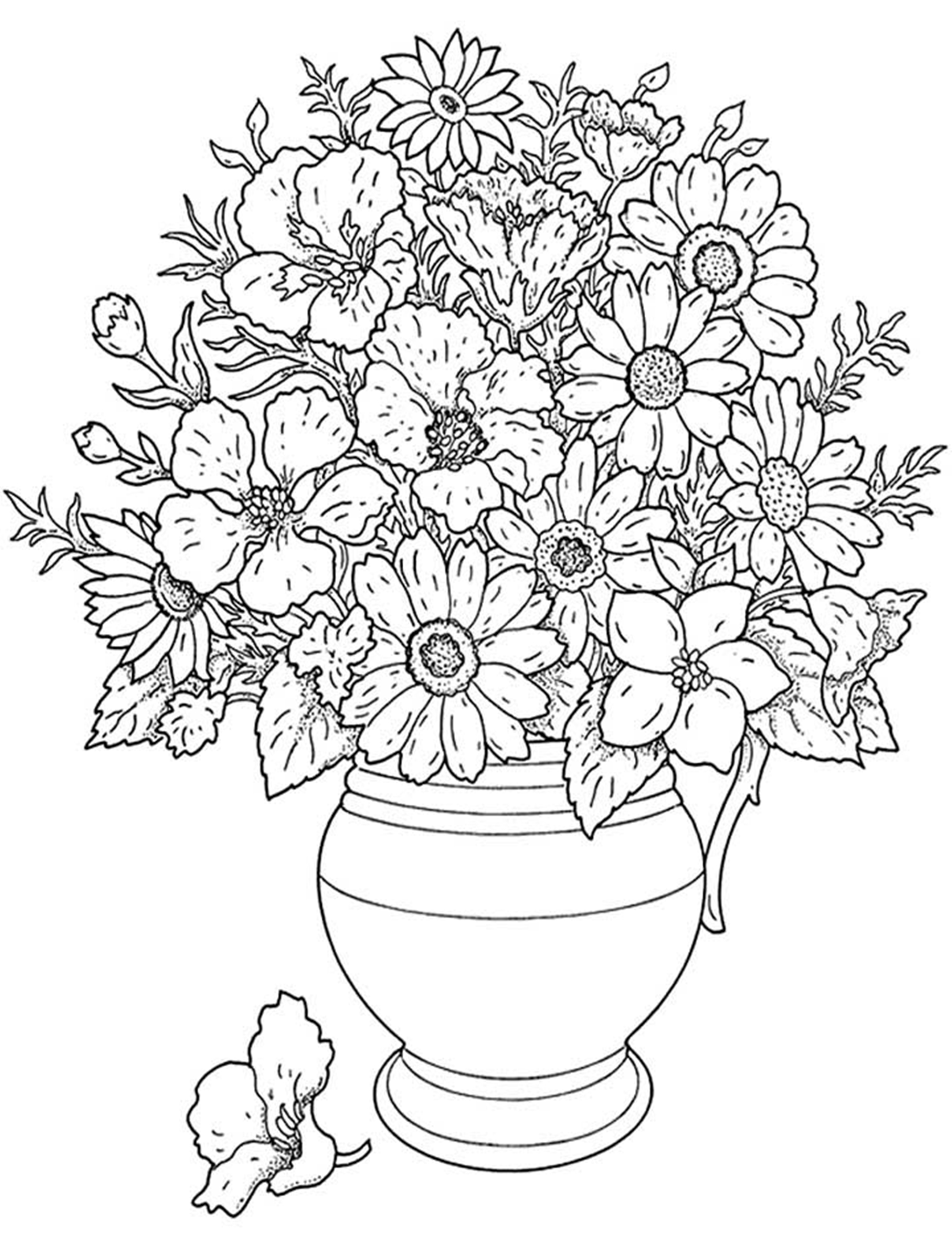 bouquet of roses coloring pages - free printable flower coloring pages for kids best