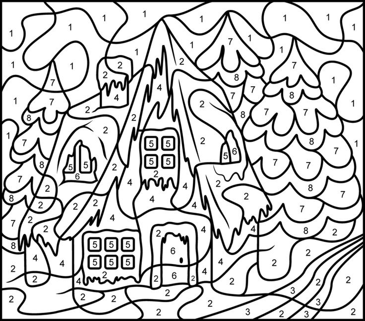 color by number coloring pages free - Christmas Coloring Pages Number