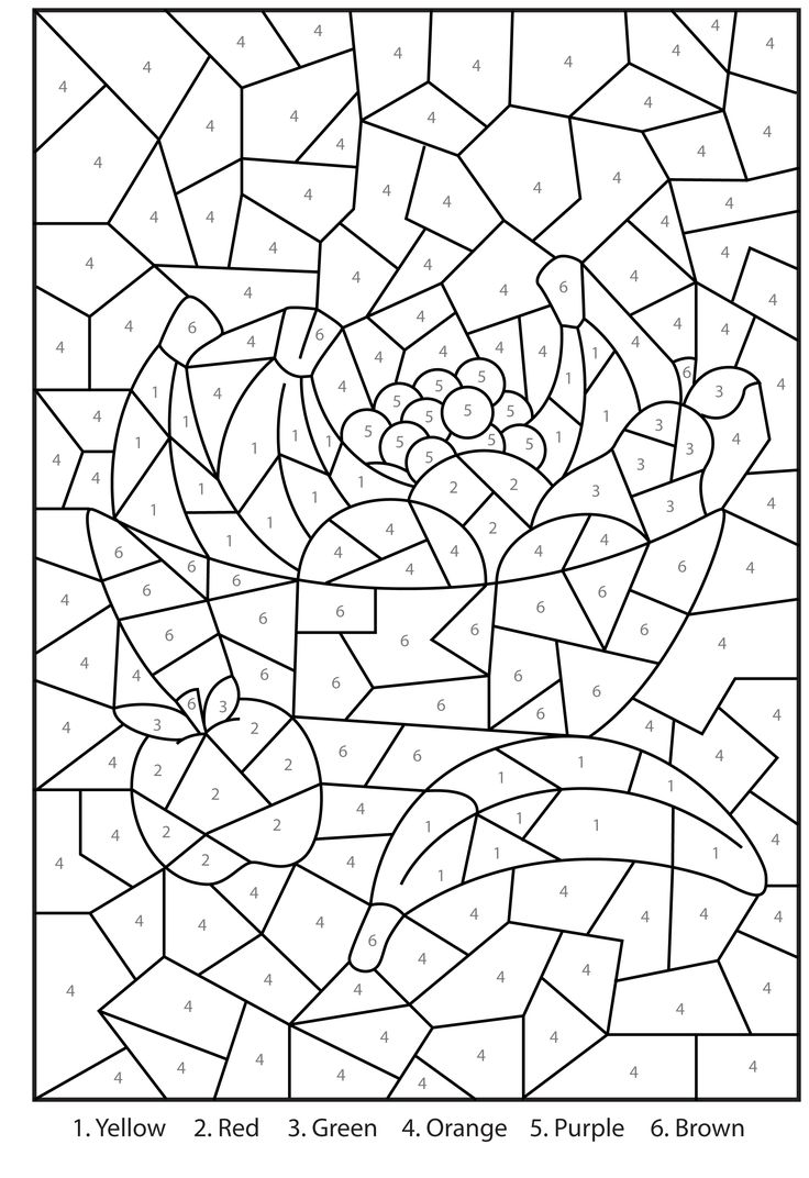 Free printable color by number coloring pages best for Hard printable coloring pages