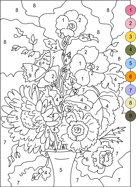 colour by numbers coloring pages - photo#16