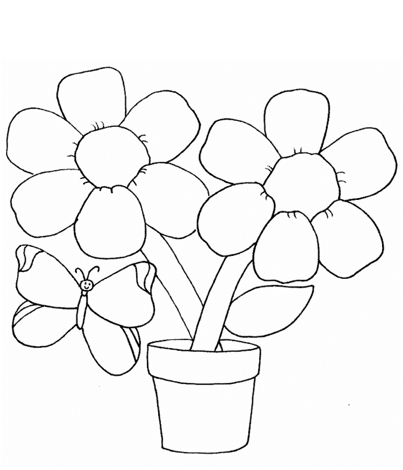 flower coloring pages - Simple Printable Coloring Pages