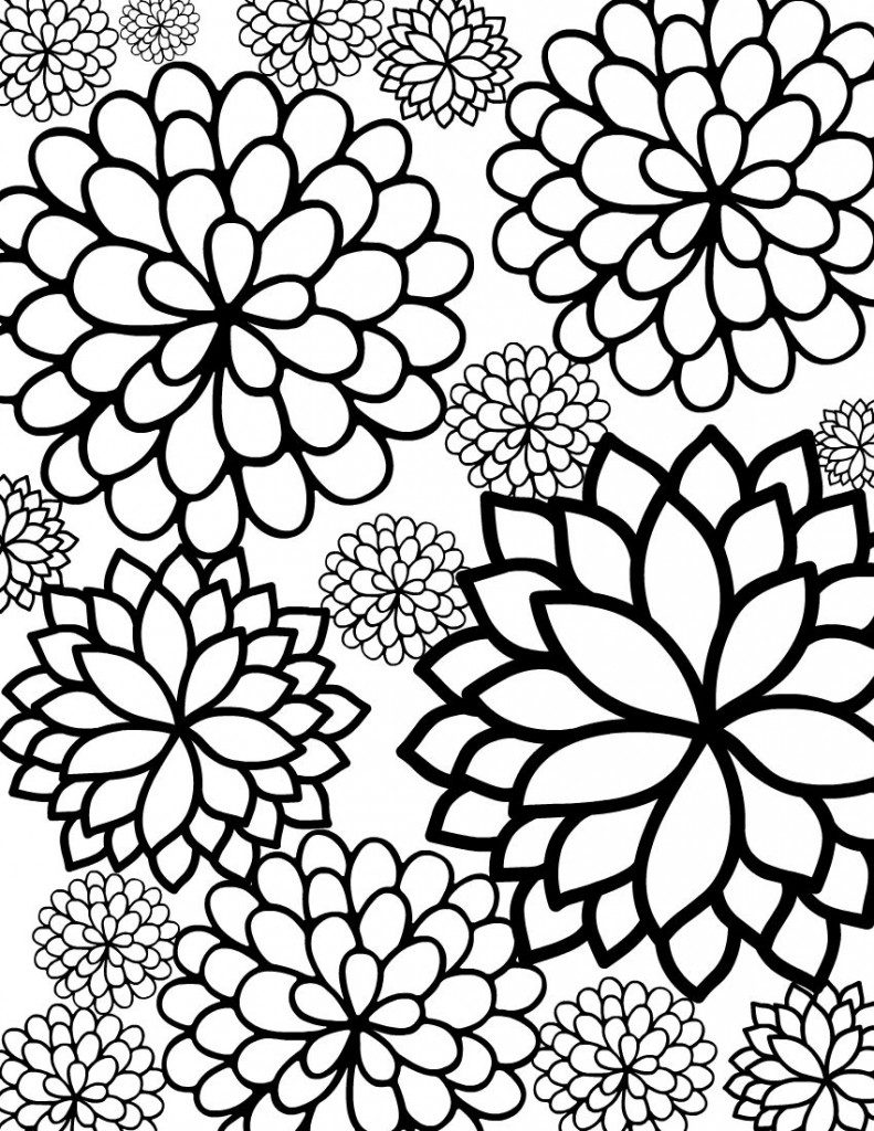 Free printable flower coloring pages for kids best Coloring book