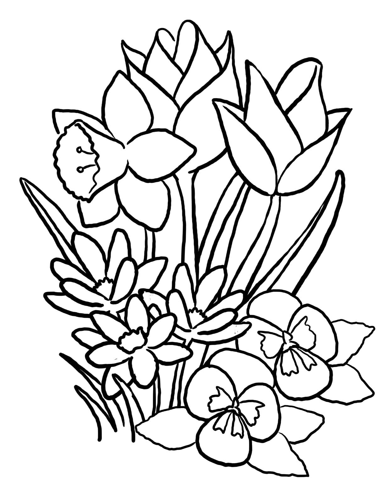 Flower coloring in pages - Flower Pictures To Print And Color