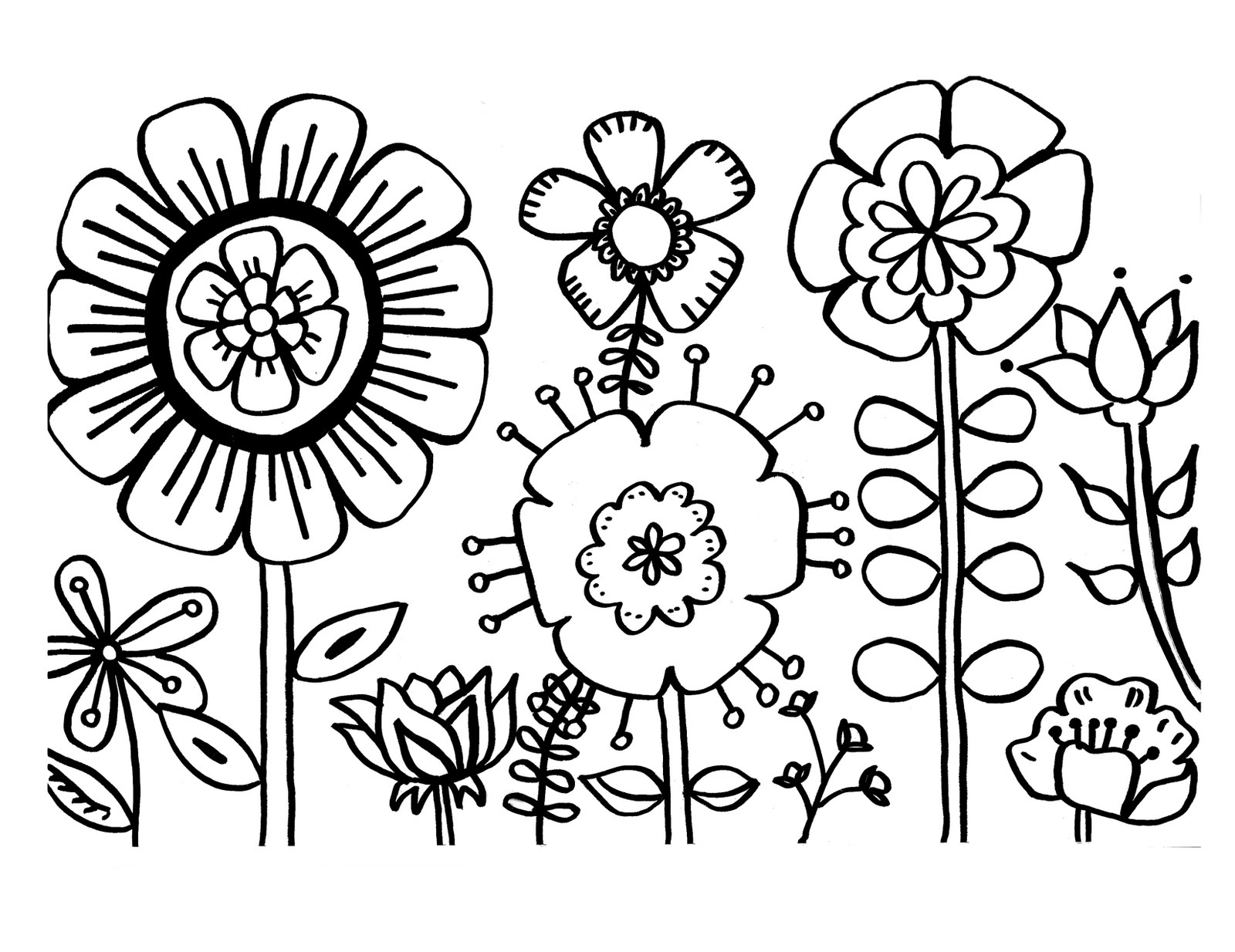 Free printable flower coloring pages for kids best for Easy flower coloring pages
