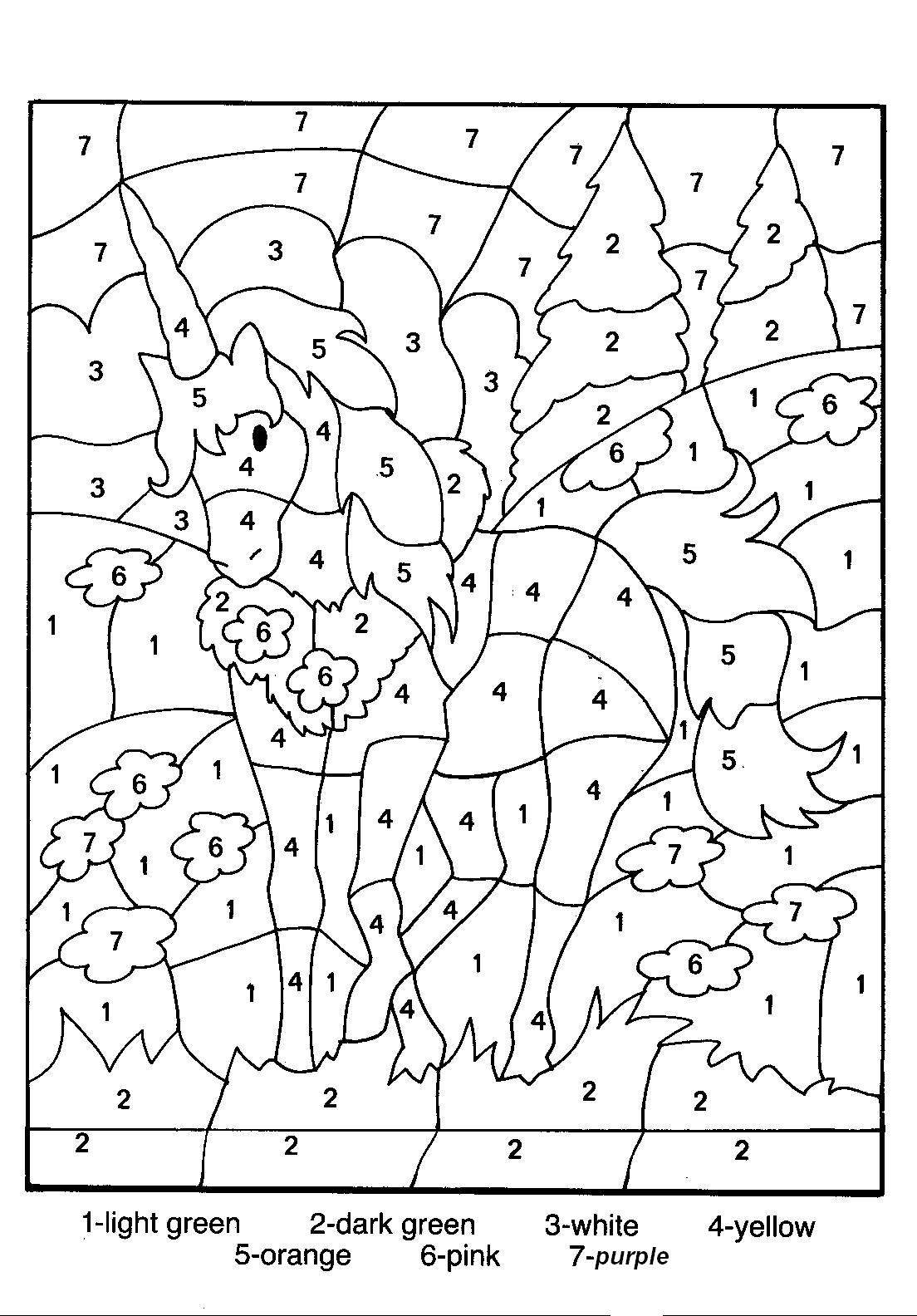 Coloring pages by numbers for kids - Free Printable Color By Number