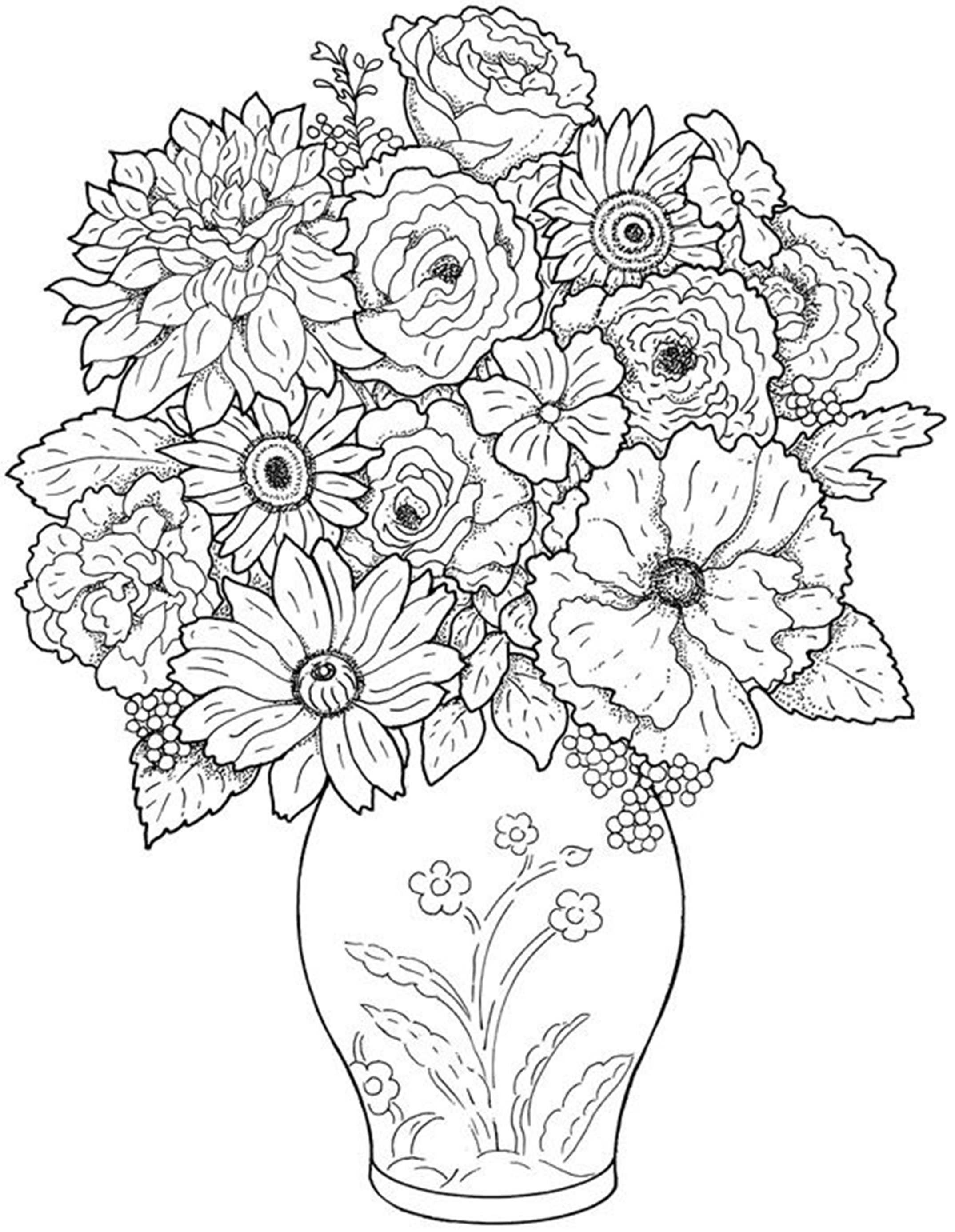 Flower coloring in pages - Free Vase Flower Coloring Pages