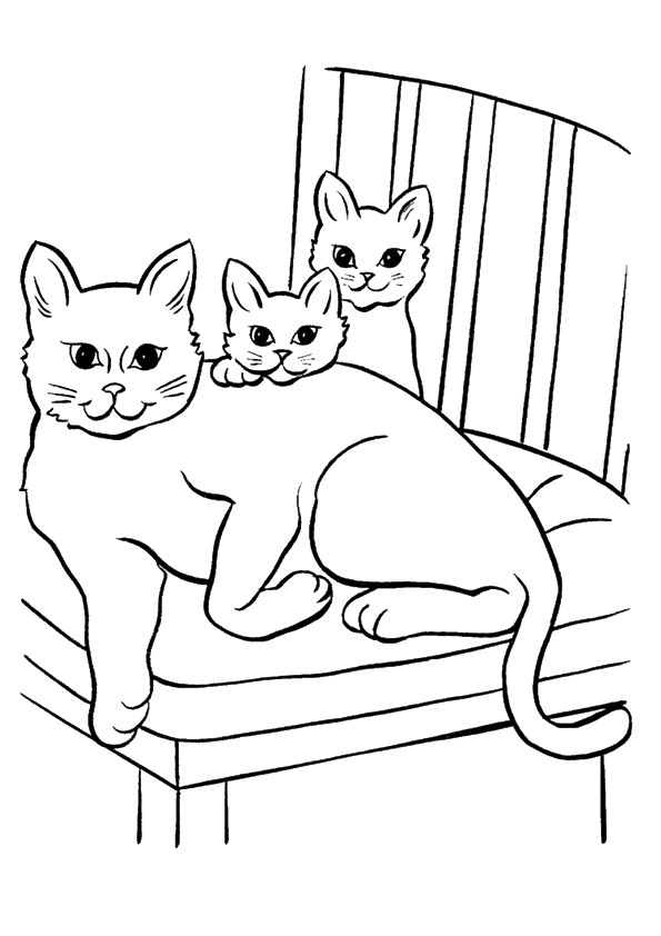 kitten family coloring page