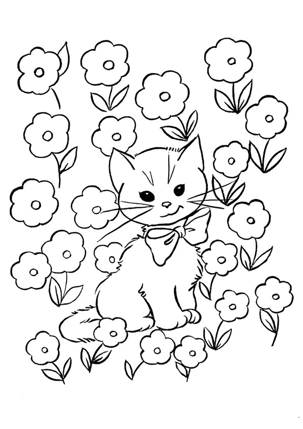 kitten in flowers coloring page