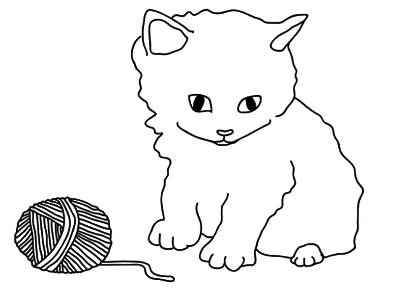 Kitten With Yarn Coloring Page