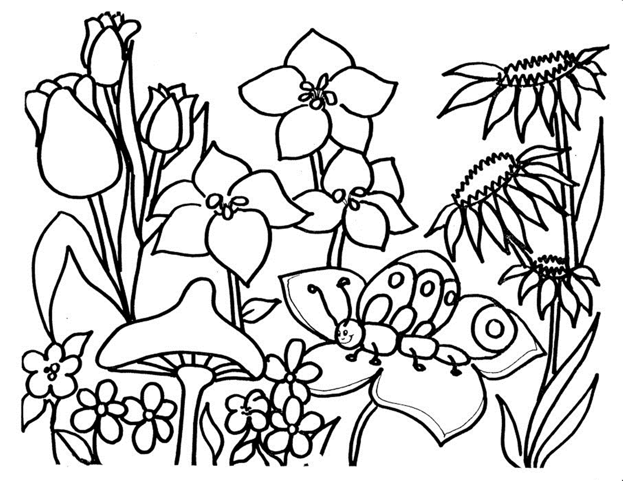 Free Printable Flower Coloring Pages Simple Free Printable Flower Coloring Pages For Kids  Best Coloring .