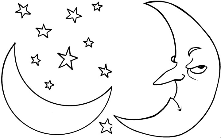 broken moon coloring page