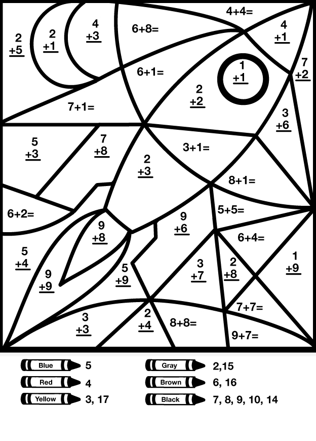Coloring Math Worksheets Davezan – Color by Addition Worksheets Free