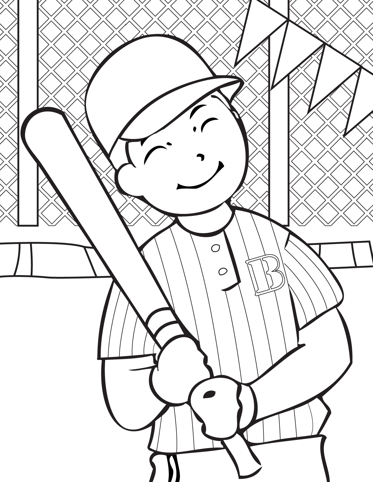 free baseball coloring pages for kids - Free Printable Coloring Pages