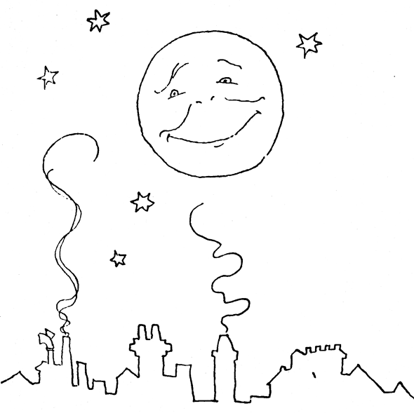happy moon over the city coloring page