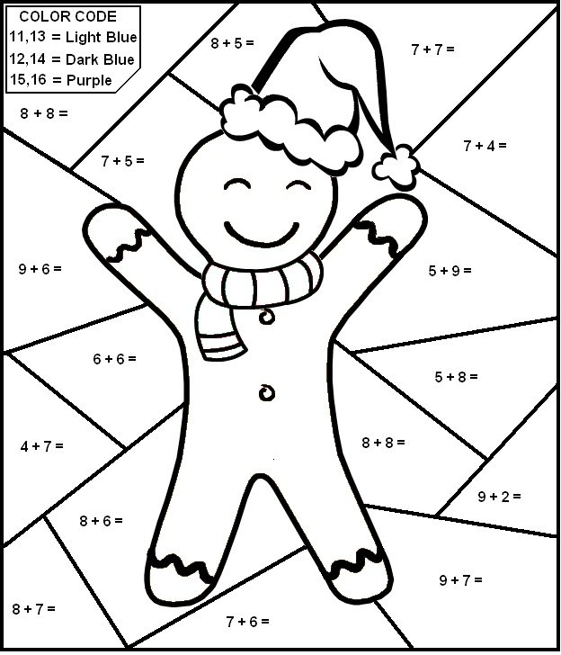 Printable Addition Coloring Page – Addition Colouring Worksheets
