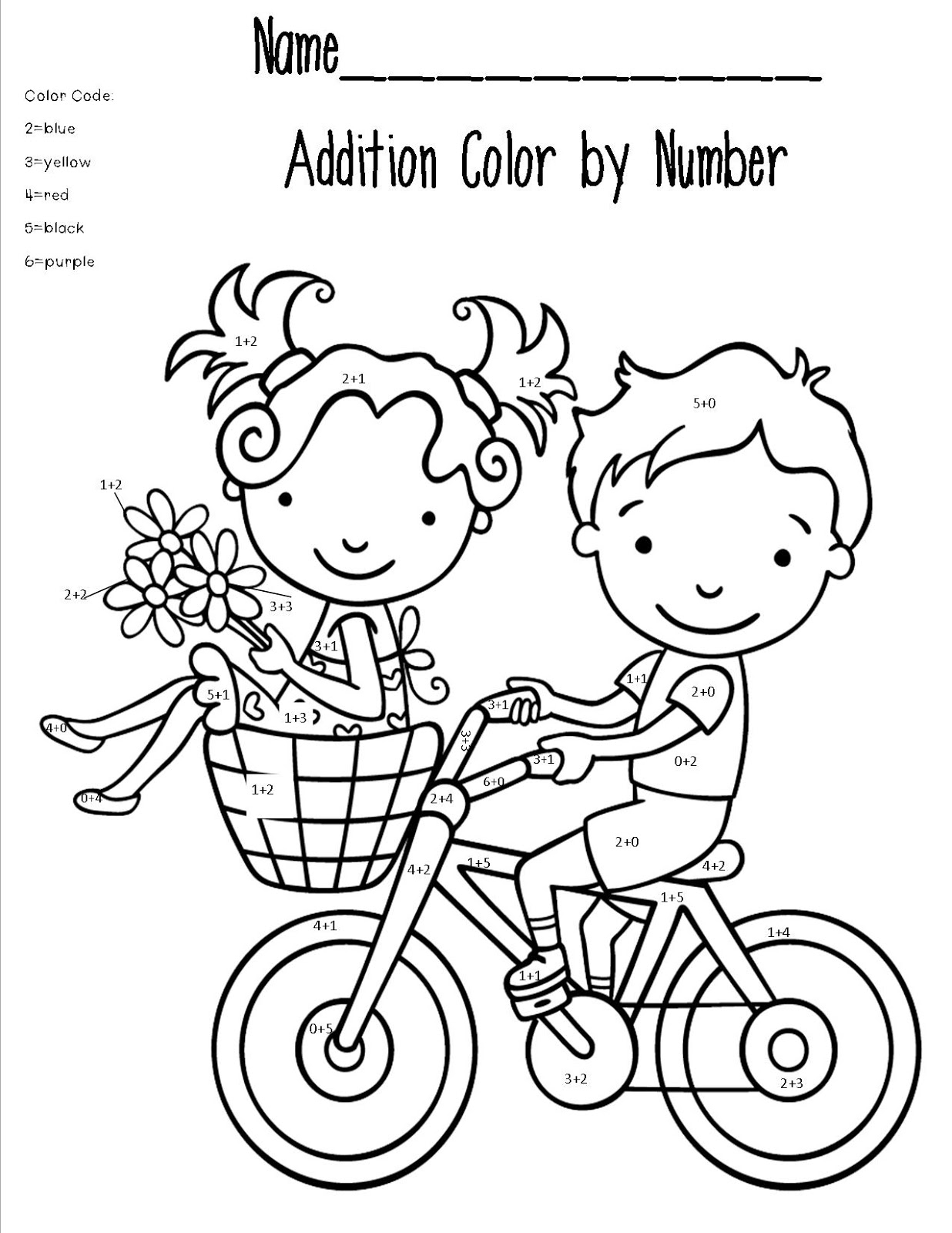 Addition coloring pages printable