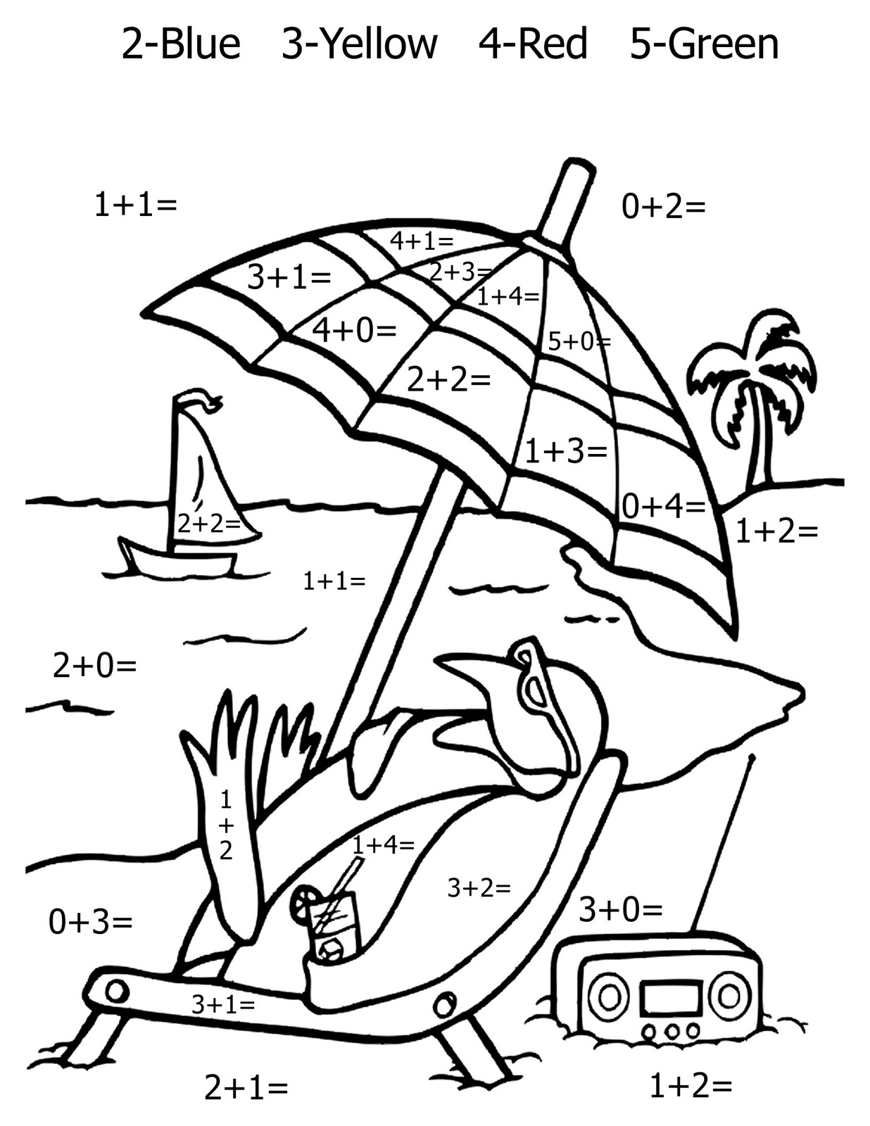 Coloring sheets with math problems - Math Coloring Worksheet Addition