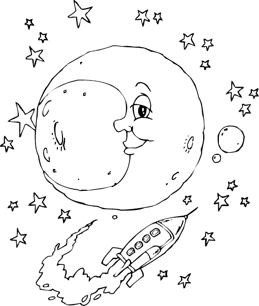 rocket and moon coloring pages