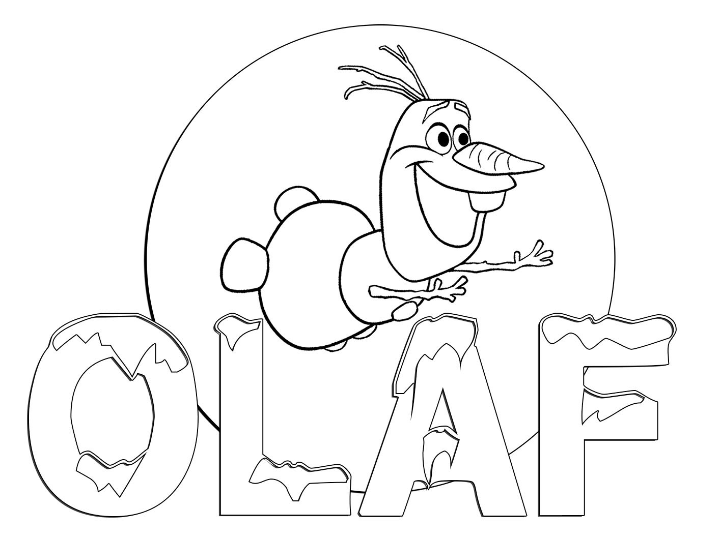 Free coloring in pages frozen - Olaf Coloring Page