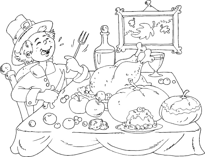 Pilgrim Thanksgiving Feast Coloring Page