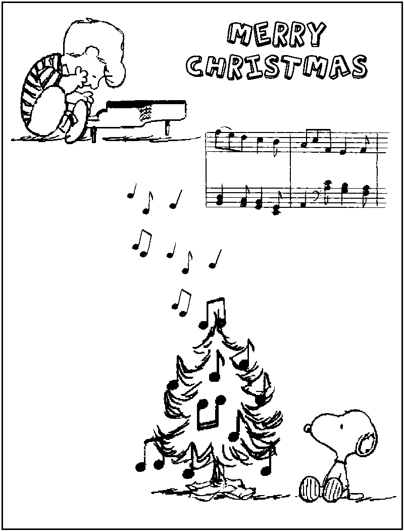 Charlie brown christmas coloring pages to print - Charlie Brown Christmas Free Printables