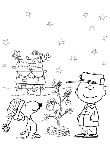 Charlie Brown and Snoopy Christmas Coloring Page