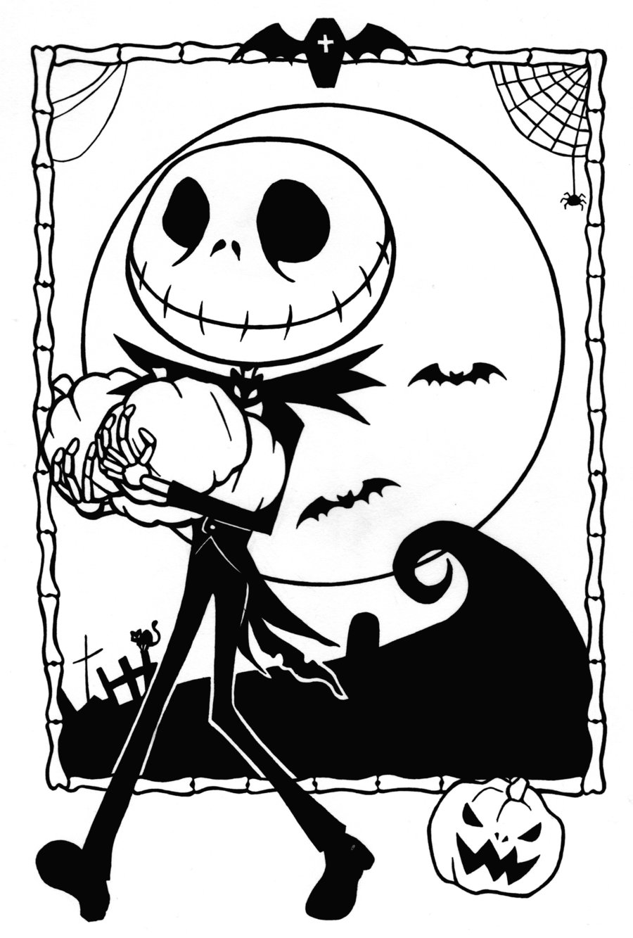 free printable nightmare before christmas coloring pages - Christmas Print Coloring Pages