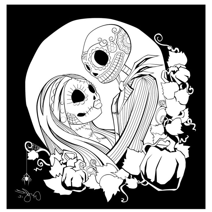 nightmare before christmas love - Christmas Coloring Pages For Adults