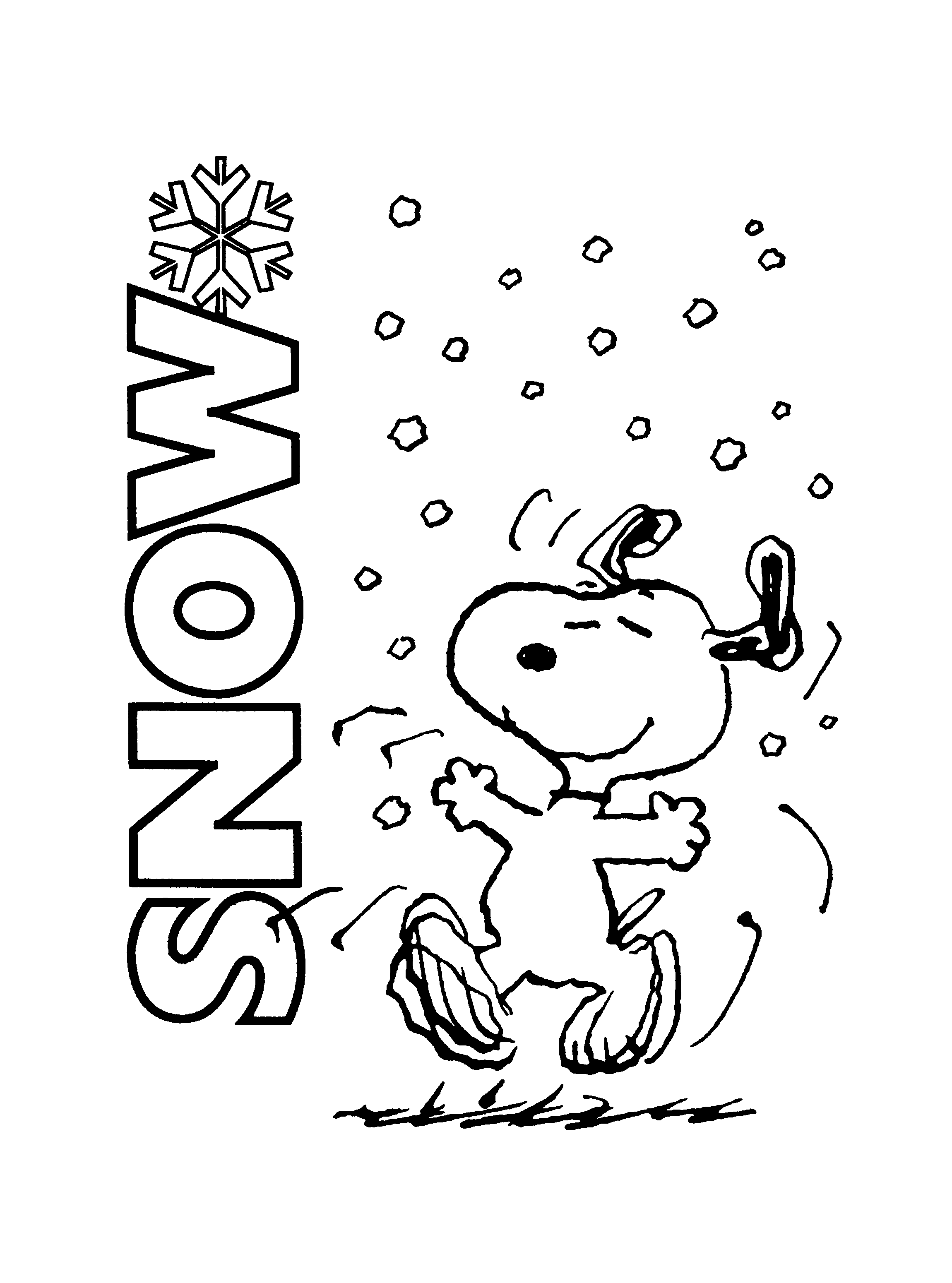 Free printable charlie brown christmas coloring pages for for Snoopy coloring page