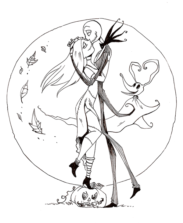 Free printable nightmare before christmas coloring pages for Jack and sally coloring pages
