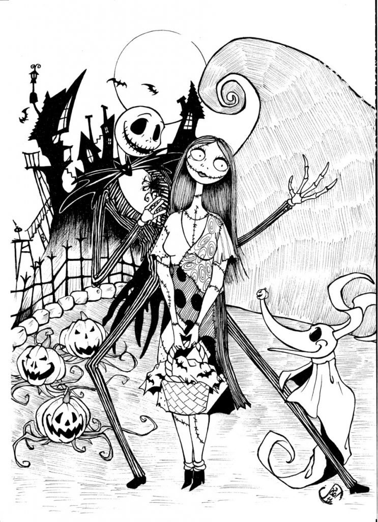 Free printable nightmare before christmas coloring pages for Adult christmas coloring pages