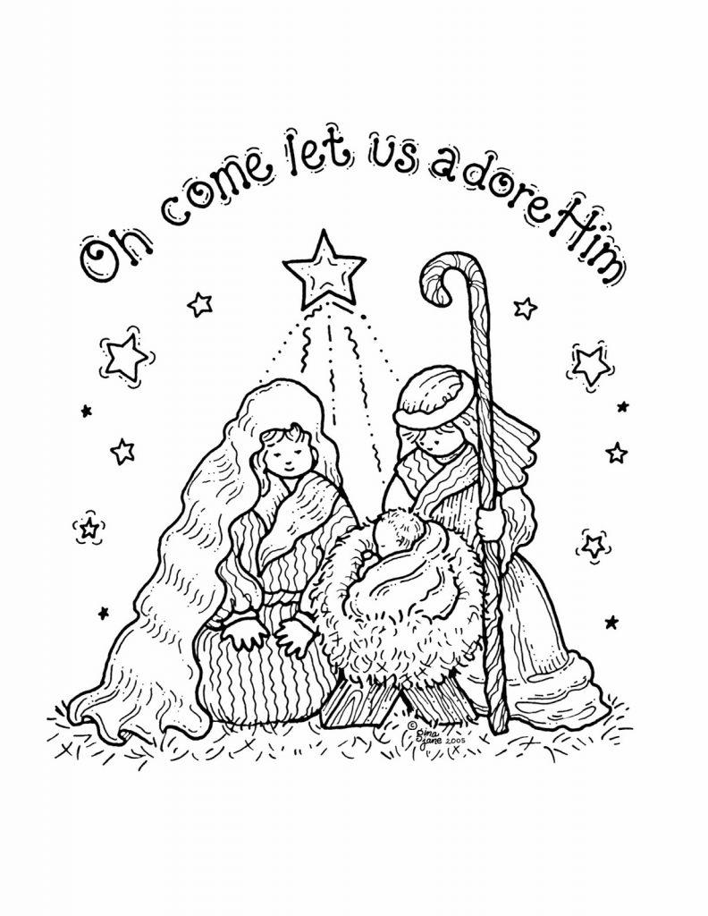 100 Christmas Coloring Pages Bells Free Santa Nativity Sheets 792x1024