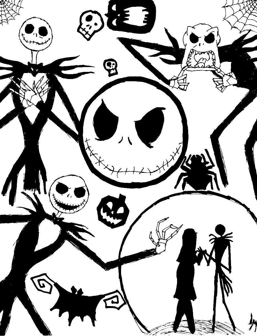 Free printable coloring pages nightmare before christmas - Print Nightmare Before Christmas Coloring Photos