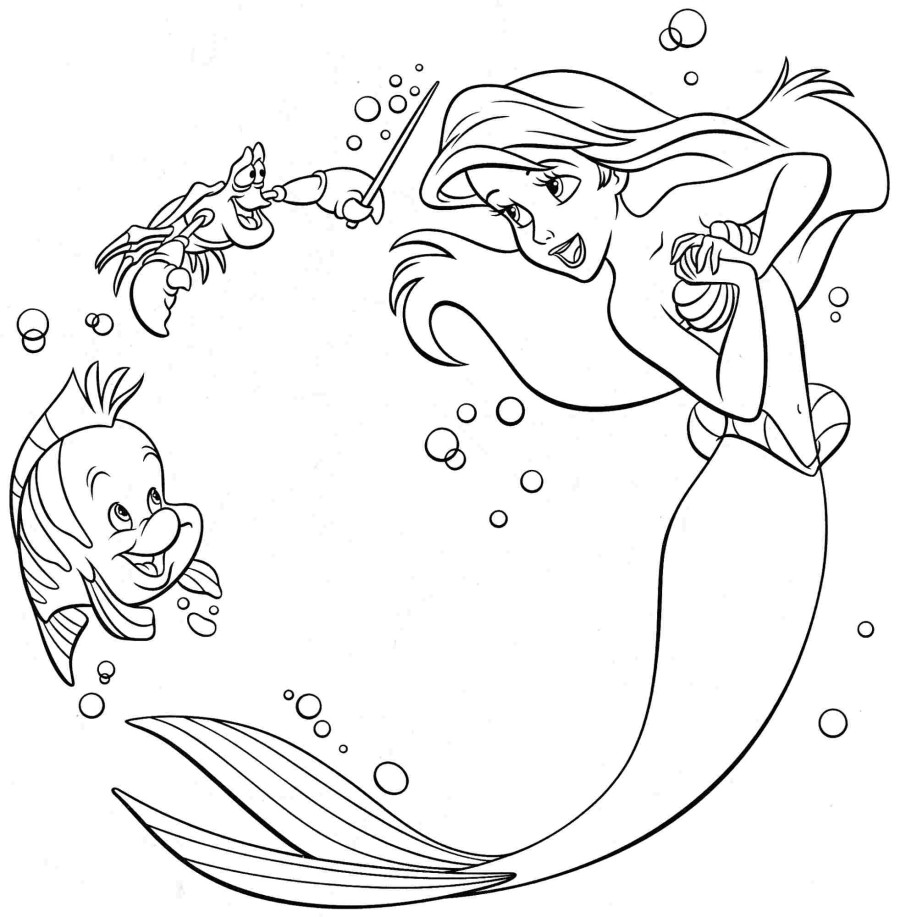 ariel mermaid coloring pages free - photo#2