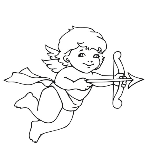 cupid coloring page - Cupid Coloring Pages