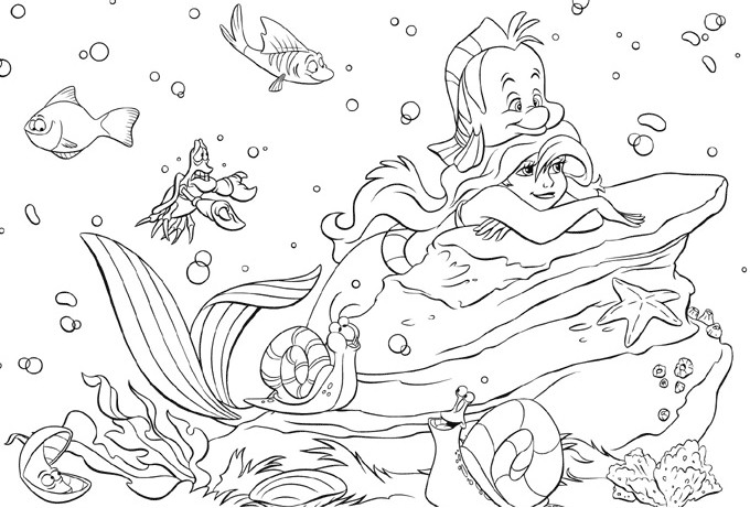 Free Little Mermaid Coloring Page