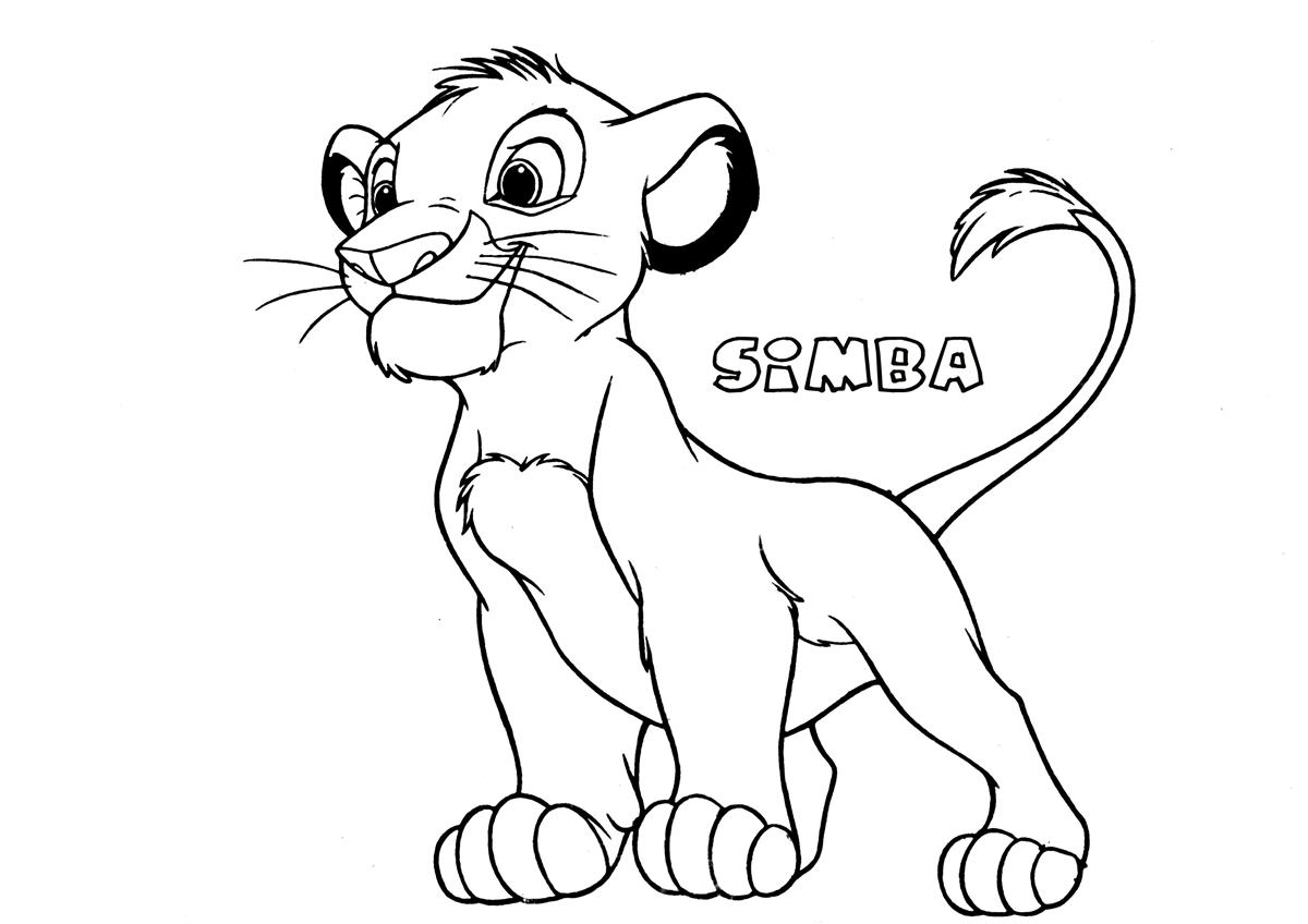 Free coloring pages lion king - Free Printable Simba Coloring Page