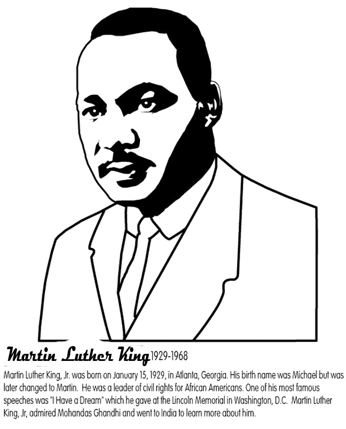 martin luther king jr coloring pages martin luther king info worksheet - Martin Luther King Jr Coloring Pages