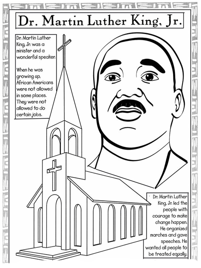 Martin luther king jr coloring pages and worksheets best for Black history printable coloring pages