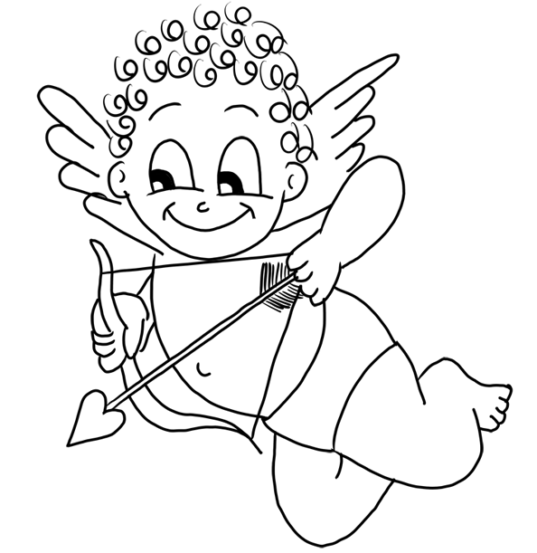 Super Cute Cupid Coloring Page