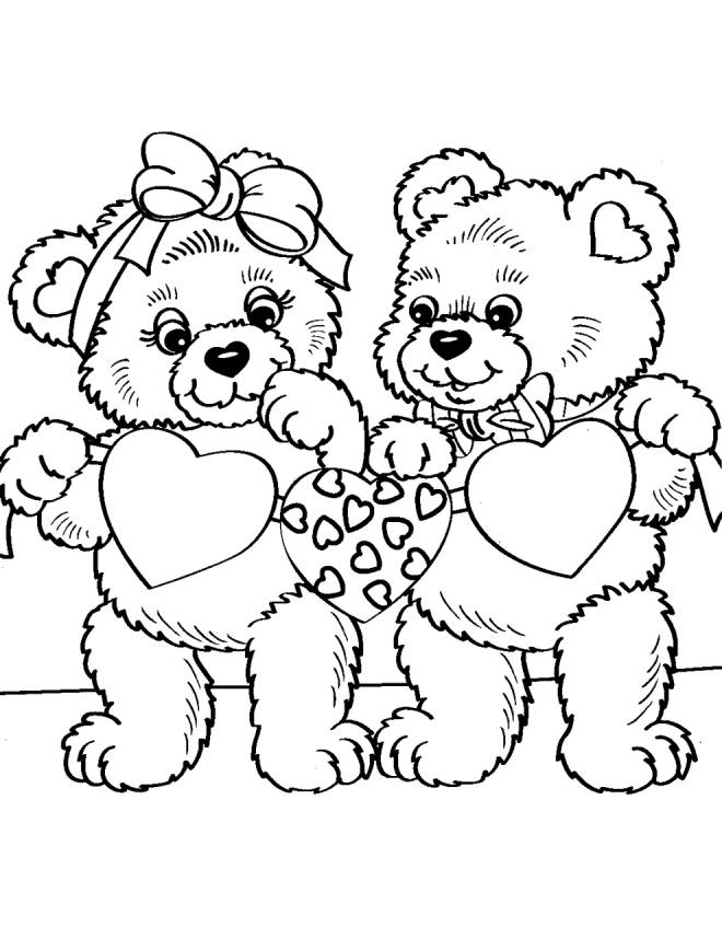 Valentine Coloring Pages - Bears and Hearts