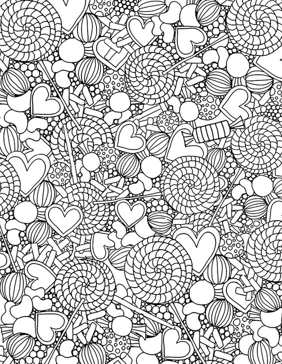 Valentine Coloring Pages - Candy Collage