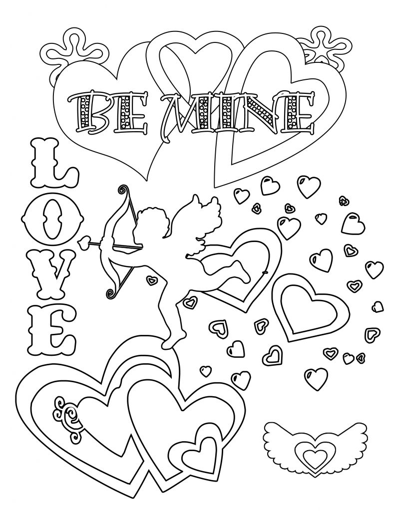 Valentine Coloring Pages - Cupid and Hearts