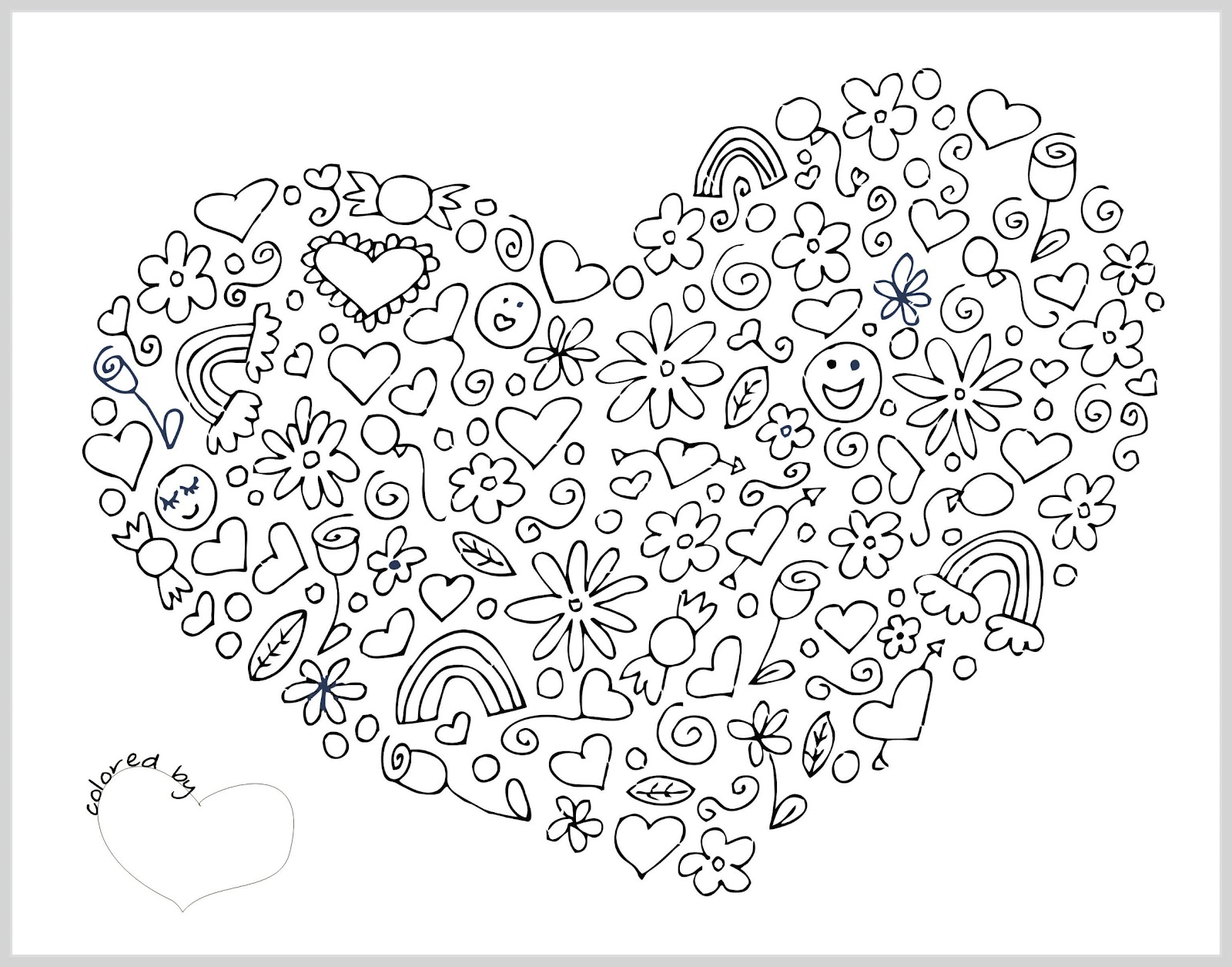 valentine bookmarks to color : Valentine Coloring Pages Heart Collage Print